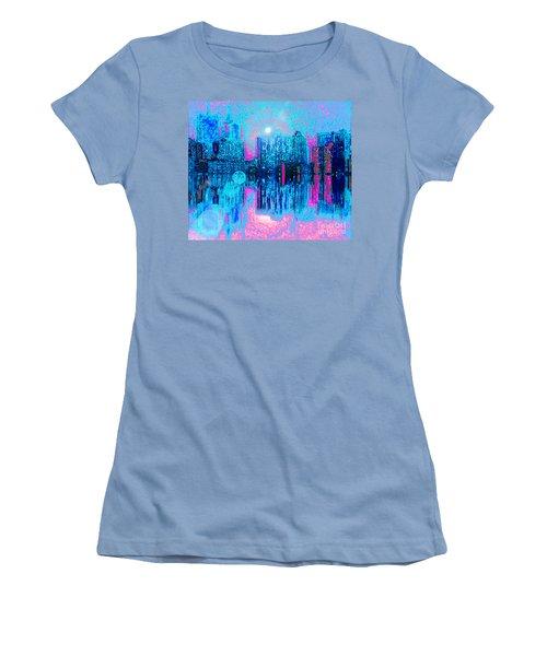 Women's T-Shirt (Junior Cut) featuring the digital art City Twilight by Holly Martinson