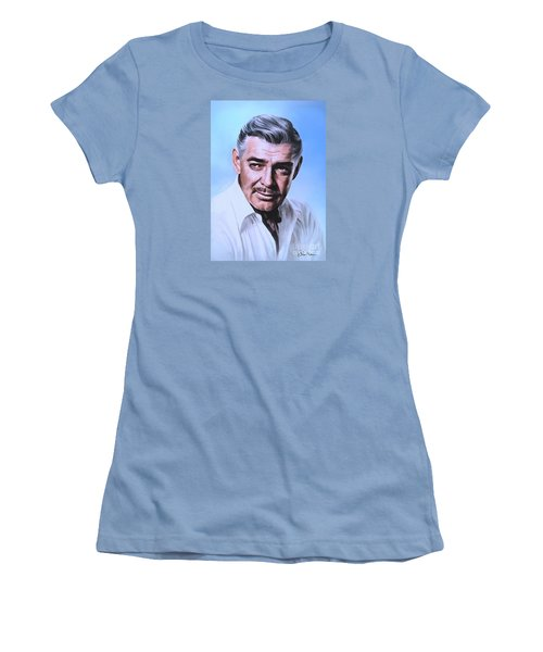 Women's T-Shirt (Junior Cut) featuring the painting  Clark Gable 2 by Andrzej Szczerski