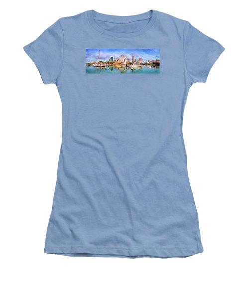 Women's T-Shirt (Junior Cut) featuring the photograph Cleveland  Pano 1  by Emmanuel Panagiotakis
