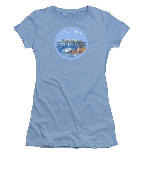 Women's T-Shirt (Junior Cut) featuring the digital art Cleveland Skyline Plate by Mary Armstrong