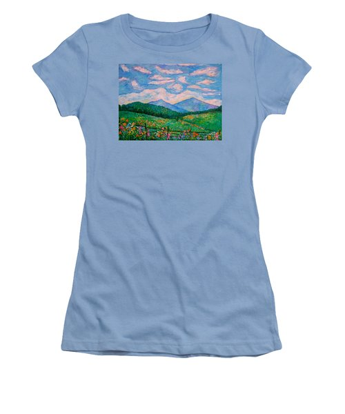 Cloud Swirl Over The Peaks Of Otter Women's T-Shirt (Junior Cut) by Kendall Kessler