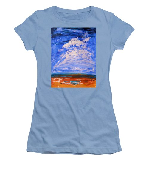 Women's T-Shirt (Junior Cut) featuring the painting Clouds Dance by Mary Carol Williams