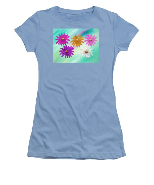 Women's T-Shirt (Athletic Fit) featuring the mixed media Colorful Daisies by Elizabeth Lock