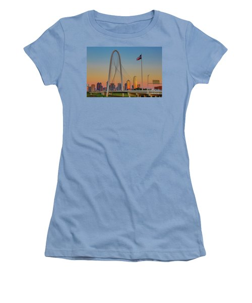 Colorful Dallas Sunset Women's T-Shirt (Junior Cut) by John Roberts