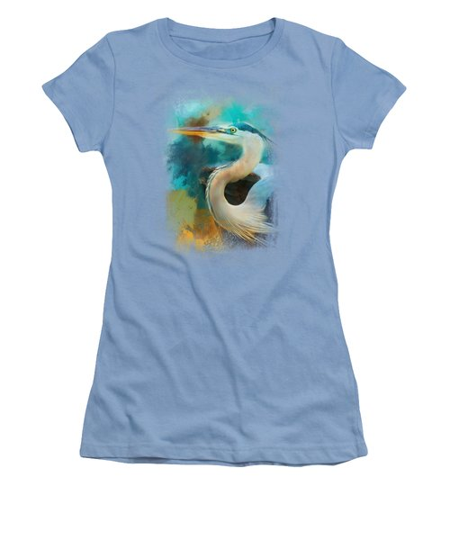 Colorful Expressions Heron Women's T-Shirt (Junior Cut) by Jai Johnson