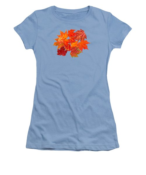 Colorful Maple Leaves Women's T-Shirt (Junior Cut) by Christina Rollo