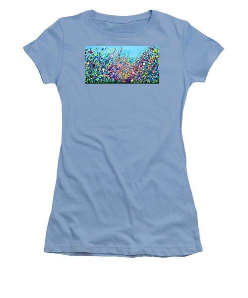 Women's T-Shirt (Junior Cut) featuring the painting Colorful Spring Flowers by Maja Sokolowska