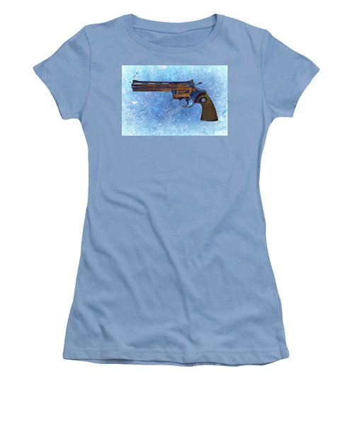 Colt Python 357 Mag On Blue Background. Women's T-Shirt (Athletic Fit)