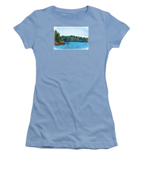 Women's T-Shirt (Junior Cut) featuring the digital art Coming Into Friday Harbor by Kirt Tisdale