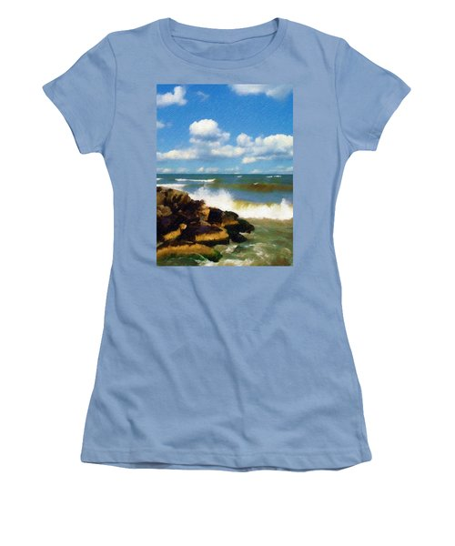 Crashing Into Shore Women's T-Shirt (Junior Cut)