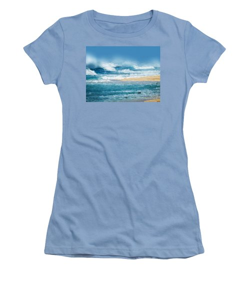 Women's T-Shirt (Junior Cut) featuring the digital art Crashing Waves by Anthony Fishburne