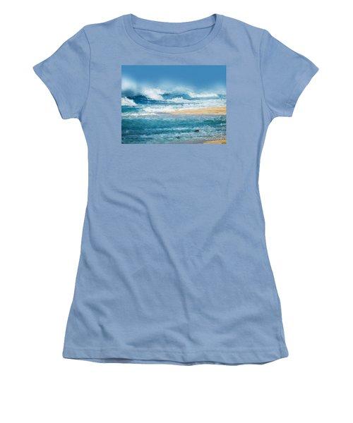 Crashing Waves Women's T-Shirt (Junior Cut) by Anthony Fishburne