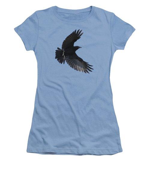 Women's T-Shirt (Junior Cut) featuring the photograph Crow In Flight by Bradford Martin
