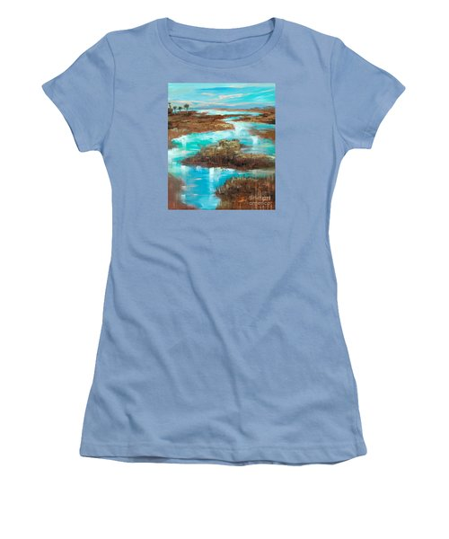 Women's T-Shirt (Junior Cut) featuring the painting A Few Palms by Linda Olsen
