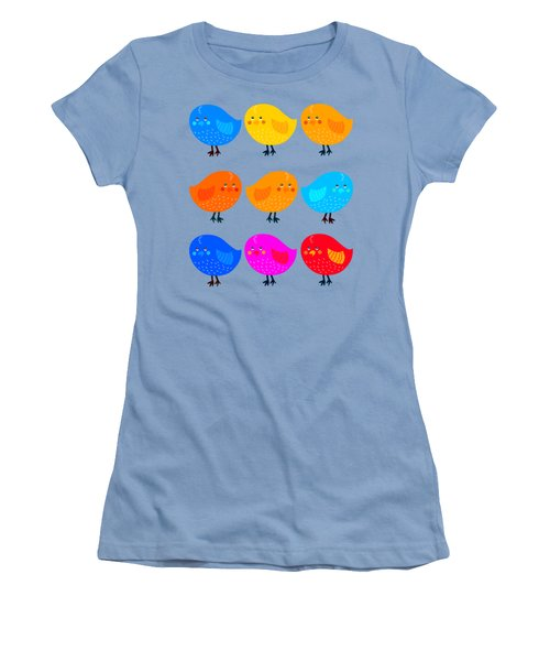 Women's T-Shirt (Junior Cut) featuring the digital art Cute Little Birdies Tee by Edward Fielding