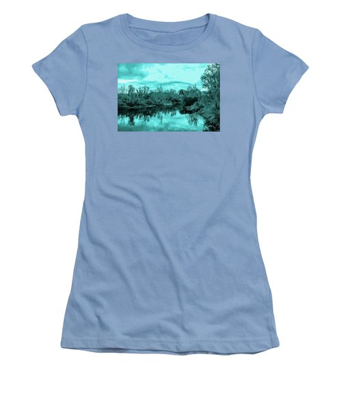 Women's T-Shirt (Junior Cut) featuring the photograph Cyan Dreaming - Sarasota Pond by Madeline Ellis