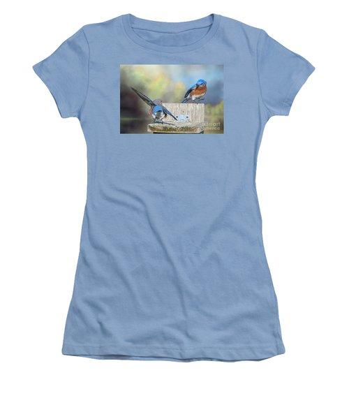 Dancing Bluebirds Women's T-Shirt (Athletic Fit)