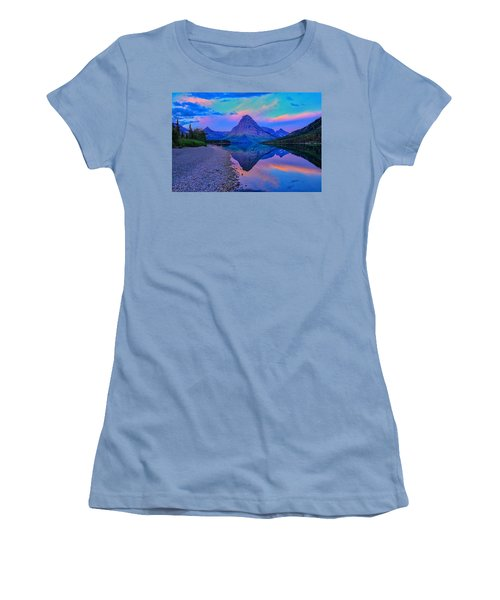 Dawn At Two Medicine Lake Women's T-Shirt (Junior Cut) by Greg Norrell