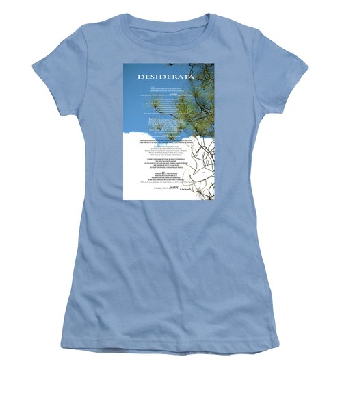 Desiderata Poem Over Sky With Clouds And Tree Branches Women's T-Shirt (Junior Cut) by Claudia Ellis