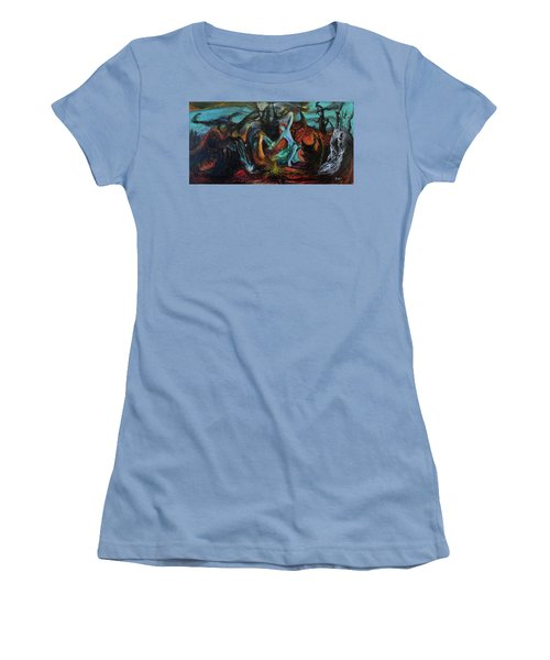 Women's T-Shirt (Junior Cut) featuring the painting Devils Gorge by Christophe Ennis
