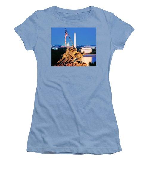 Digital Composite, Iwo Jima Memorial Women's T-Shirt (Junior Cut) by Panoramic Images
