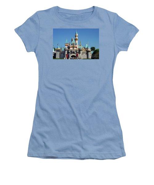 Women's T-Shirt (Junior Cut) featuring the photograph Disneyland Castle by Mariola Bitner