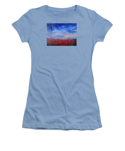 Women's T-Shirt (Junior Cut) featuring the painting Divine Red by Jane See