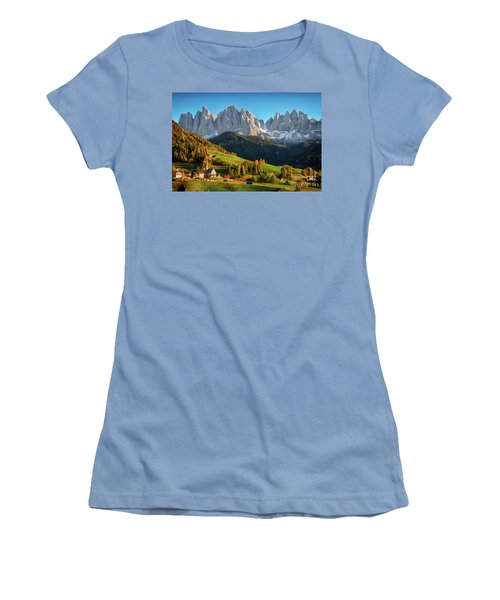 Dolomite Village In Autumn Women's T-Shirt (Junior Cut) by IPics Photography