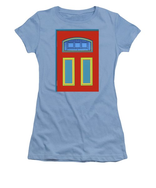 Women's T-Shirt (Junior Cut) featuring the photograph Door - Primary Colors by Nikolyn McDonald