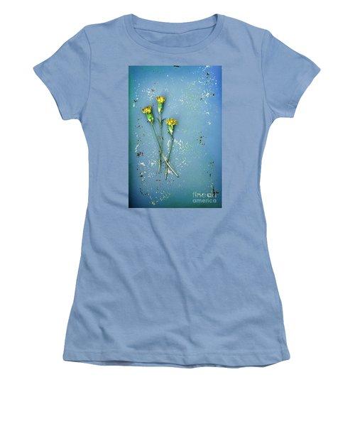 Women's T-Shirt (Junior Cut) featuring the photograph Dry Flowers On Blue by Jill Battaglia