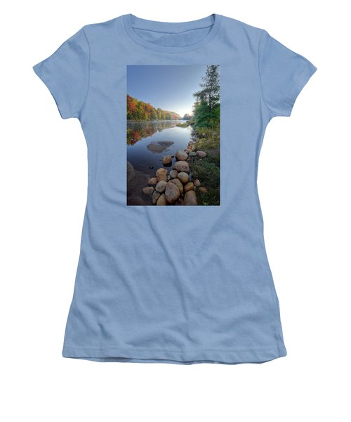Women's T-Shirt (Athletic Fit) featuring the photograph Early Color On Bald Mountain Pond by David Patterson