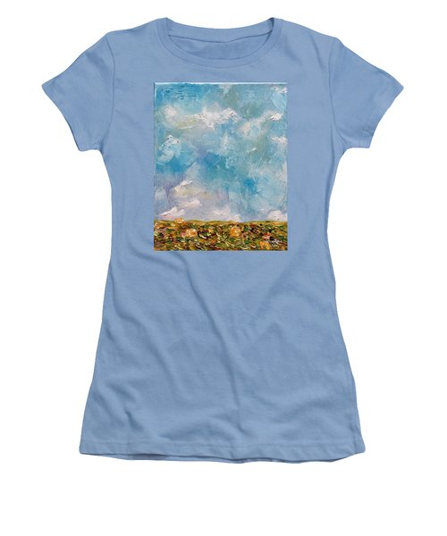 Women's T-Shirt (Athletic Fit) featuring the painting East Field Seedlings by Judith Rhue