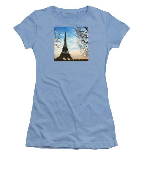 Eiffel Tower And Contrails Women's T-Shirt (Junior Cut) by Aurella FollowMyFrench