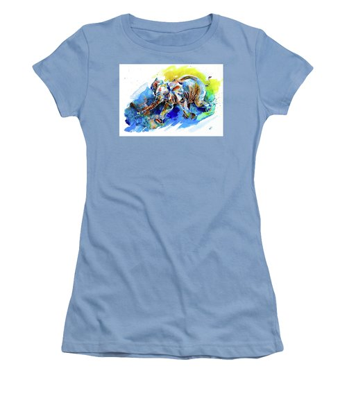 Women's T-Shirt (Athletic Fit) featuring the painting Elephant Calf Playing With Butterfly by Zaira Dzhaubaeva