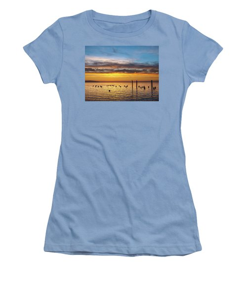 End Of The Day On Humboldt Bay Women's T-Shirt (Junior Cut) by Greg Nyquist
