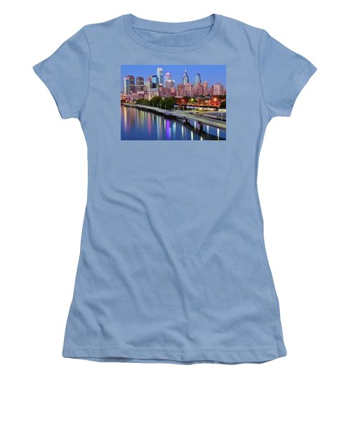 Women's T-Shirt (Junior Cut) featuring the photograph Evening Lights On The Delaware by Frozen in Time Fine Art Photography