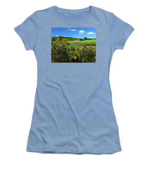 Women's T-Shirt (Junior Cut) featuring the photograph Fall Farm by Rebecca Hiatt