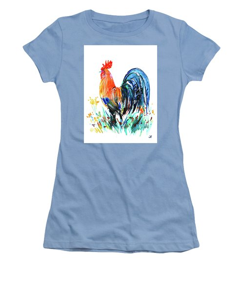 Women's T-Shirt (Athletic Fit) featuring the painting Farm Rooster by Zaira Dzhaubaeva