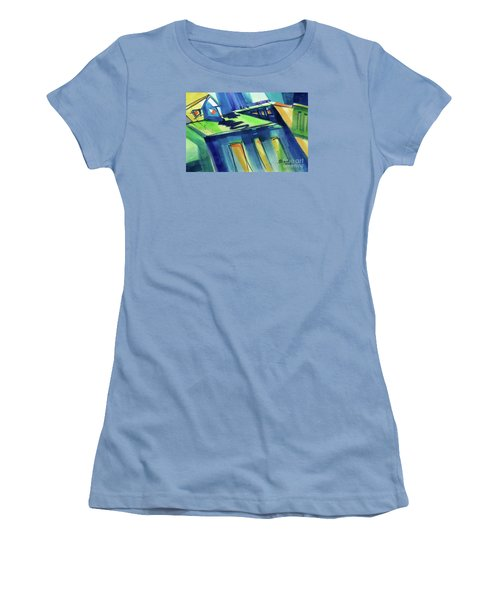 Women's T-Shirt (Junior Cut) featuring the painting Feedmill In Blue And Green by Kathy Braud