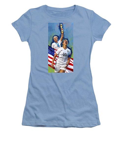 Women's T-Shirt (Junior Cut) featuring the painting Fifa World Cup U.s Women Soccer Carli Lloyd Abby Wambach Artwork by Sheraz A
