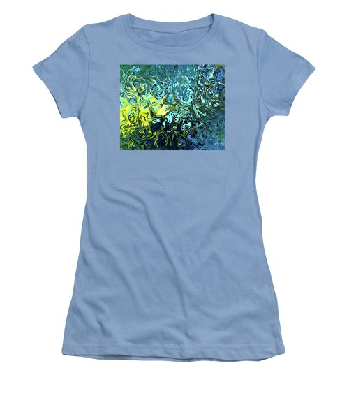Women's T-Shirt (Junior Cut) featuring the digital art Fish Abstract Art by Annie Zeno