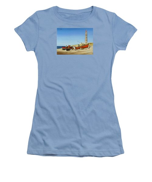Fishermen By Lighthouse Women's T-Shirt (Junior Cut) by Natalia Tejera