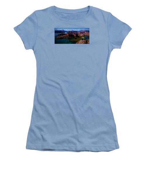 Women's T-Shirt (Junior Cut) featuring the painting Fishermen Cabins by Mario Carini