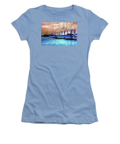Women's T-Shirt (Junior Cut) featuring the painting Fishing Boats Of The Outer Banks Ap by Dan Carmichael