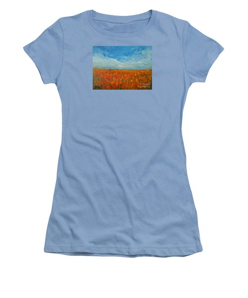 Women's T-Shirt (Junior Cut) featuring the painting Flaming Orange by Jane See