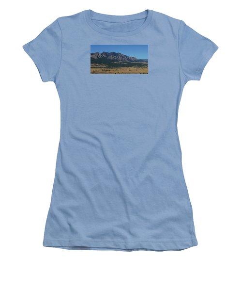 Flatirons Of Boulder Women's T-Shirt (Junior Cut) by Christopher Kirby