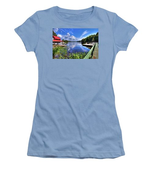 Women's T-Shirt (Athletic Fit) featuring the photograph Floating Bridge At Covewood by David Patterson
