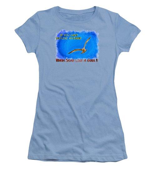 Flying Gull Women's T-Shirt (Junior Cut) by John M Bailey