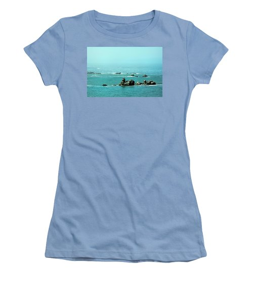 Sunny Blue Pacific Ocean Along The Oregon Coast Women's T-Shirt (Athletic Fit)