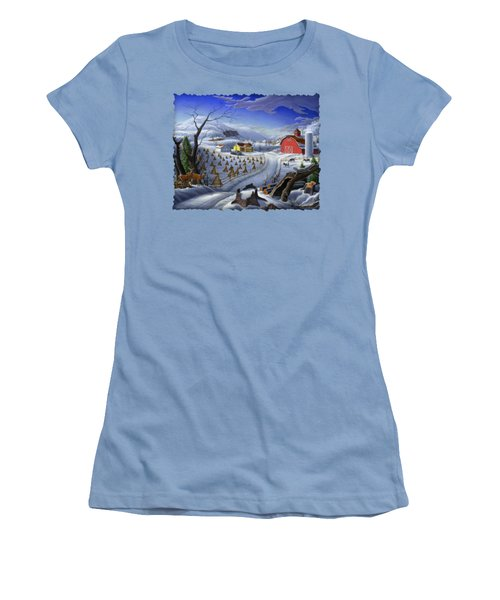 Folk Art Winter Landscape Women's T-Shirt (Junior Cut) by Walt Curlee